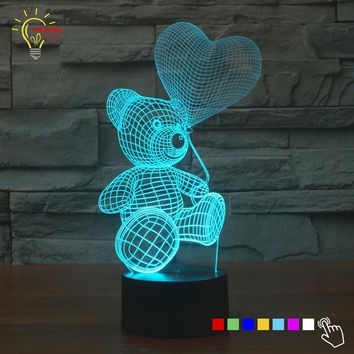 3D LED Teddy Bear With Heart Balloon Lamp With 7 Changable Colors