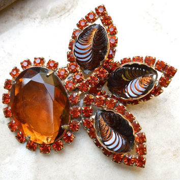 Topaz Amber Glass Brooch, Orange Rhinestones, Carved Glass by CATHE', Vintage