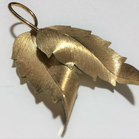 Krementz 14k Gold Overlay Birch Leaf Pin Botanical Leaves Brooch  Vintage Mid Century Classic Jewelry 318