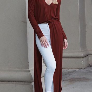 New Red Cut Out V-neck Long Sleeve Fashion Maxi Dress