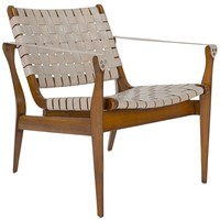 Safavieh Couture High Line Collection Dilan Mahogany Cream Leather Safari Chair | Overstock.com Shopping - The Best Deals on Living Room Chairs