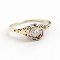 Antique 14k Yellow & White Gold Old Mine Cut Diamond Ring - Size 7 1/4 Vintage Butterfly Filigree 1920s Wedding Engagement Fine Jewelry