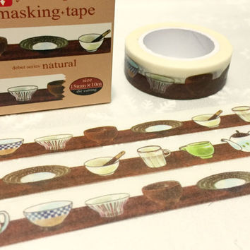Japanese tea ceremony washi tape 10M x 1.5 CM tea art tea party invitations masking tape sticker kitchenware planner cooking diary gift
