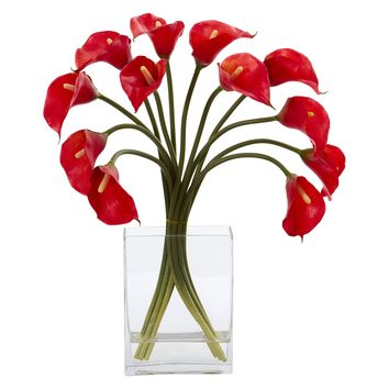 Artificial Flowers -Calla Lily Red Arrangement in Vase