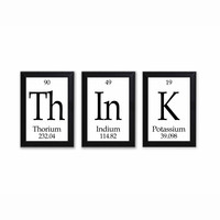 "Think Periodic Table Framed 3 Piece Wall Plaque Set Periodic Table Framed 3 Piece Wall Plaque Set  Each Plaque 5"" x 7"" - Geeky Home Decor"