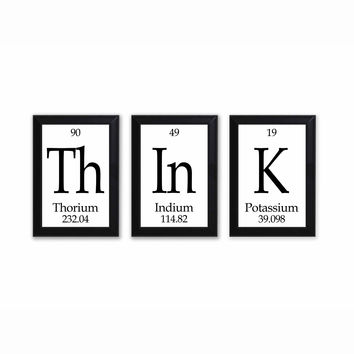 Think Periodic Table Framed 3 Piece Wall Plaque Set