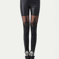 Black Lace Embroidered Leggings