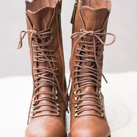 Georgia Star Lace Up Combat Boots-Brown
