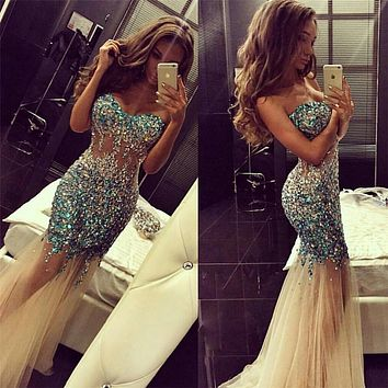 2016 Luxuries Rhinestone Crystal Long Prom Dresses Off The Shoulder Sweetheart See Though Mermaid Prom Dress Floor Length