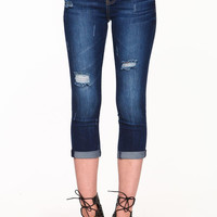 DISTRESSED CUFFED CAPRI JEANS
