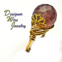 DWJ0327 Gorgeous Faceted Honeycomb Lilac Blush Gold Wire Wrap Ring All Sizes