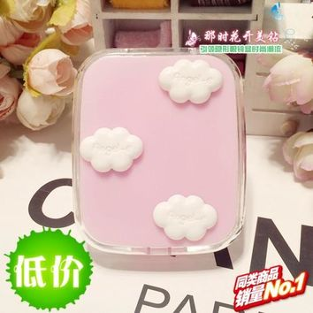LIUSVENTINA wholesale DIY cute children white clouds contact lens case for eyes contact lenses box for glasses spectacle case