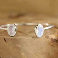 Rainbow moonstone cuff bracelet Hammered sterling silver and moonstone bangle Dual gemstone open cuff bracelet