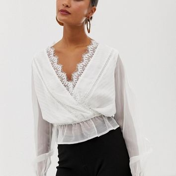 Miss Selfridge sparkle stripe wrap blouse in white at asos.com