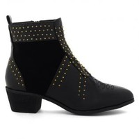Black Ankle Boots with Golden Stud Embellishment