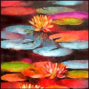 Abstract Painting Water Lilies Large Wall Art,Wall Decor,Wall Hanging,Red Blu Ar Original Painting,Oil Painting