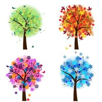 Four Seasons Trees Clipart Clip Art, Spring Summer Winter Fall Autumn Clip Art Clipart - Commercial and Personal