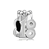 Lucky Crown Number 18 Eighteen 18th Birthday Charm Bead Fits Pandora Charm Bead Bracelet