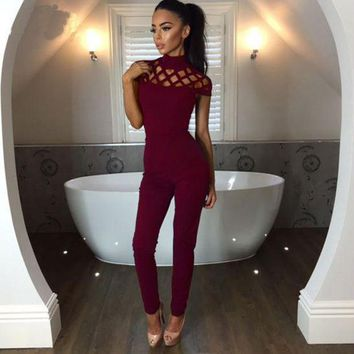 ESBONFI The new autumn ladies sexy slim body fashion sleeveless pants suit tricolor burned Bodycon body suits solid color splicing night
