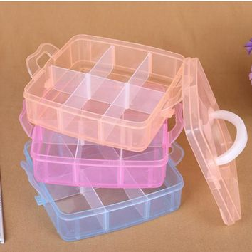 Multi-layer adjustable jewelry storage box New Clear Plastic Jewelry Bead Storage Box Container Organizer Case Craft Tool 2017