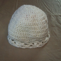 Baby Hat With Scalloped Edging, White Color