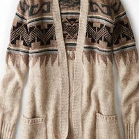 AEO Women's Open Patterned Cardigan (Holiday Heather Brown)