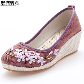 Vintage Women Pumps Linen Shoes Retro Floral Embroidery Cloth Canvas Wedges Shoes Woman Platforms Zapatos Mujer 5cm Heel