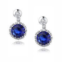 Halo Blue and Clear Round Cubic Zirconia Earrings
