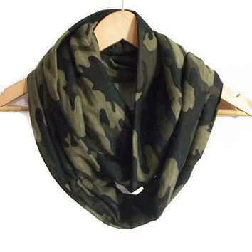 Cotton Camo Infinity Scarf, Green Camouflage Scarf Cotton Scarf, Cowl Scarf, Unisex Scarf, Scarf For Adults