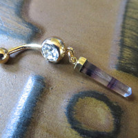 Fluorite Crystal Point Belly Button Ring Jewelry Dangle Charm Navel Piercing Clear Light Quartz Amethyst Purple