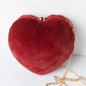 AKIRA Faux Fur Heart Shaped Chain Purse in Black, Red