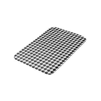 Black White Houndstooth Bath Mat