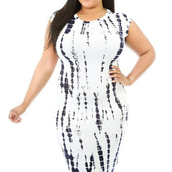 Chicloth Tie Dye Cut-out Back Plus Size Midi Dress