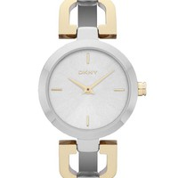 DKNY Silver Dial Two Tone Stainless Steel Ladies Watch NY8609