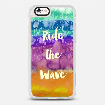 RIDE THE WAVE California Dreaming Surfer Life West Coast Paradise Surfing Beach Ocean Abstract Waves Water Ombre Splash Colorful Typography Orange Purple Blue Turquoise Coastal Painting iPhone 6s case by Ebi Emporium | Casetify