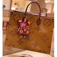 LV fashion hot selling printed shoulder bag casual lady shopping bag Brown