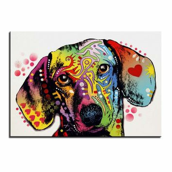 Large size Print Oil Painting Wall painting dachshund dog Home Decorative Wall Art Picture For Living Room painting No Frame