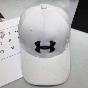 Under armour Women Men Contracted Sport Sunhat Logo Embroidery Baseball Cap Hat White G