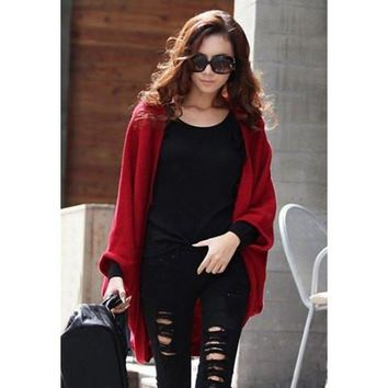 Dolman Long Sleeves Design Cardigan Sweater