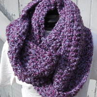 READY TO SHIP, Variegated Purple Infinity Scarf, Large Chunky Scarf, Fall Winter, Hand Crochet Cowl, Chunky Cowl