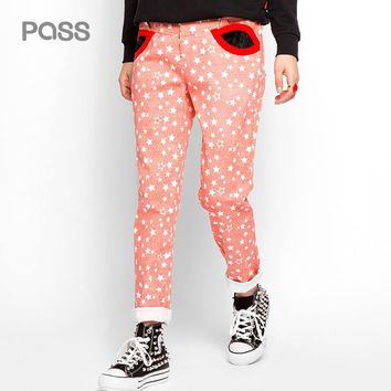 New Arrival Spring Women Casual Fashion Button Pocket Star Pattern Female Pant