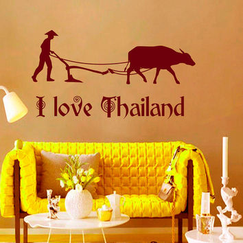 Wall Decals I Love Thailand Quotes People Animals Travel Countries Asia Thai Buffalo Any Room Vinyl Decal Sticker Home Decor Murals  ML141