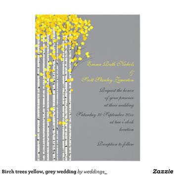 Birch trees yellow, grey wedding personalized invite