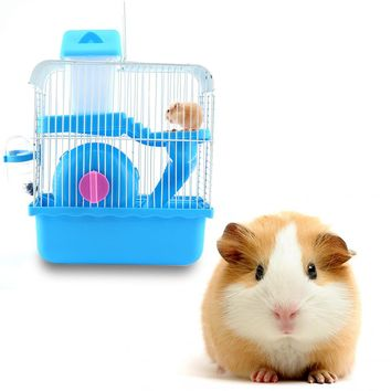 Storey Hamster Mouse Cage House w/ Slide Spinning Wheel BottleHot Hamster Gerbil Mouse Small Pet Cage