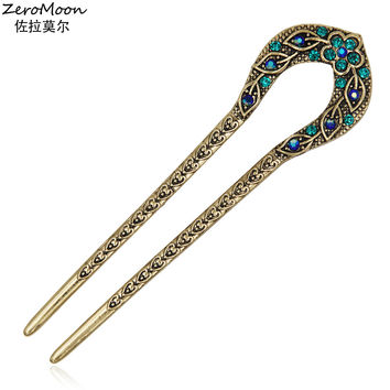 Antique Love Heart Hair Sticks Reliefs Floral Designs Leaves Crystal Rhinestone Chinese Style Hairpin Fashion Jewelry For Women