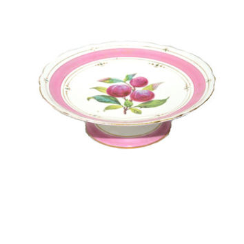 Vintage Pink Cake Stand Pink Cake Plate Cherry Cake Plate Pink and White Cake Plate Pink Dessert Plate
