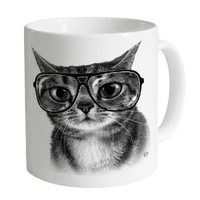 Goodie Two Sleeves Thumb Witty Kitty Mug, White