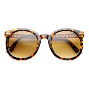 Women's Oversize Metal Pattern Cut Out Temple Round Sunglasses 9604