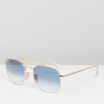 Ray-Ban 0RB3648 Hexagon Aviator Sunglasses With Blue Lens 54mm at asos.com