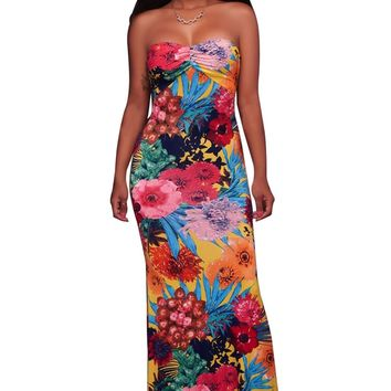 Yellow Multi-color Floral Print Keyhole Back Maxi Dress